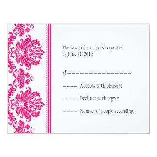 Cartes de la damassé RSVP de roses indien Cartons D'invitation Personnalisés