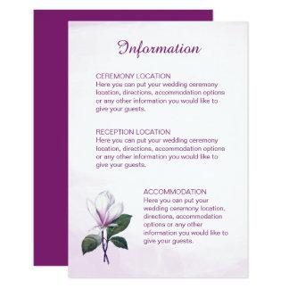 Cartes de l'information de mariage de magnolia carton d'invitation 8,89 cm x 12,70 cm
