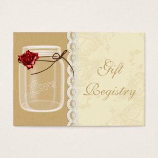 cartes de liste de cadeaux de pot de maçon de rose