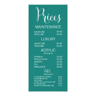 Cartes de listes des prix de menu de salon de cartons d'informations  10 cm x 22,9 cm