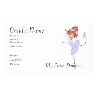 Cartes de maman/papa de ballerine modèles de cartes de visite