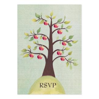 Cartes de mariage de nature d'aquarelle de pommier carte de visite grand format