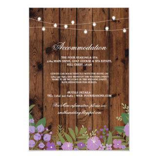 Cartes de mariage rustiques florales en bois de carton d'invitation 8,89 cm x 12,70 cm