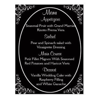 Cartes de menu de mariage cartes postales