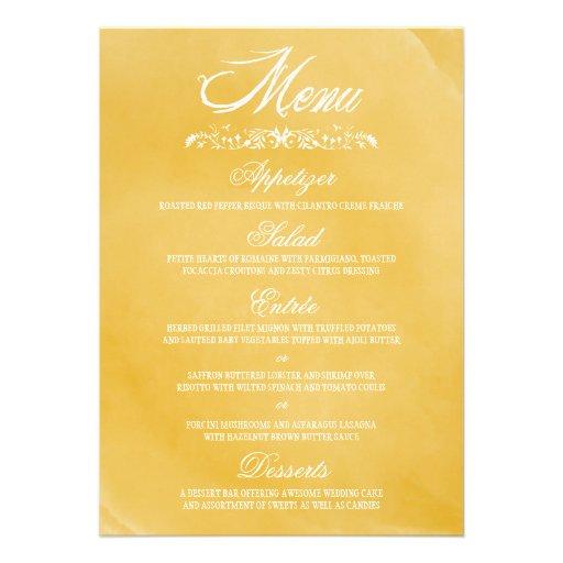 Cartes de menu de mariage d'aquarelle bristols
