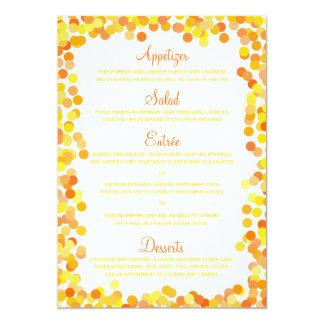 Cartes de menu de mariage de confettis carton d'invitation  12,7 cm x 17,78 cm