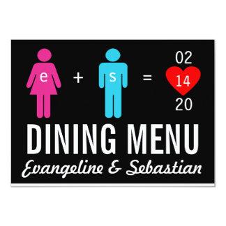 Cartes de menu de mariage de couples d'amour de carton d'invitation  11,43 cm x 15,87 cm