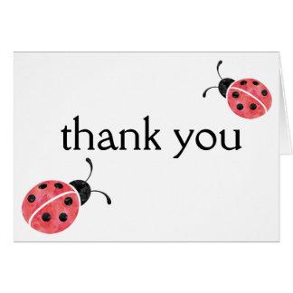 Cartes de Merci de coccinelle d'aquarelle