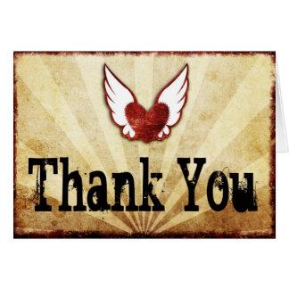 Cartes de Merci de coeur à ailes par tatouage