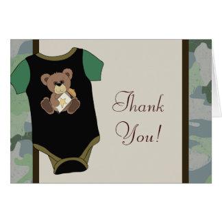 Cartes de Merci de douche de bébé de Camouflauge