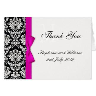 Cartes de Merci de mariage damassé d'arc de roses