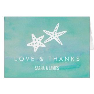 Cartes de Merci de mariage d'Aqua d'étoiles de mer