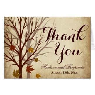 Cartes de Merci de mariage d'automne d'arbre de