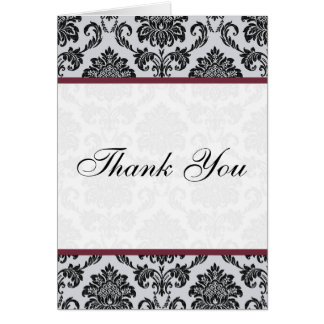 Cartes de Merci de mariage de Bourgogne de damassé