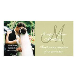 Cartes de Merci de photo de mariage avec la sauge  Photocarte