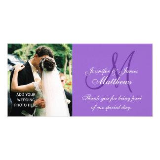 Cartes de Merci de photo de mariage avec le monogr Photocarte Personnalisée