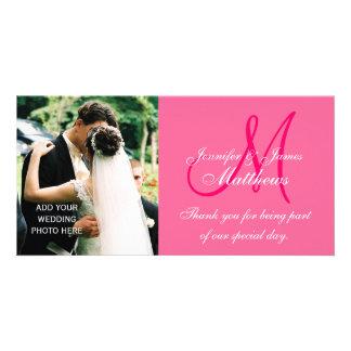 Cartes de Merci de photo de mariage avec le rose d Modèle Pour Photocarte