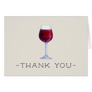 Cartes de Merci de vin d'aquarelle personnalisées