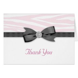 Cartes de Merci de zèbre de rose d'arc de ruban