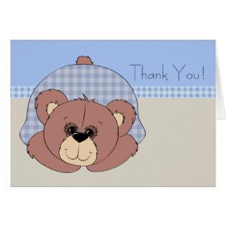 Cartes de Merci d'ours de nounours de Brown bleu