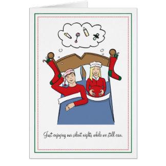 Cartes de Noël de grossesse - nuits silencieuses