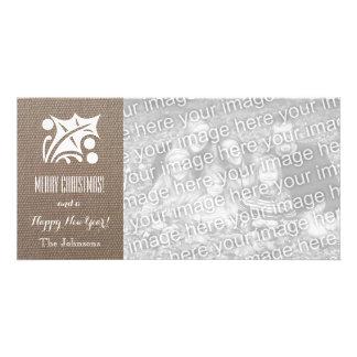 Cartes de Noël de toile de jute avec la photo Photocartes Personnalisées