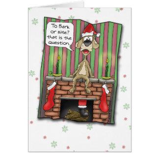 Cartes de Noël drôles : Chien de garde en service