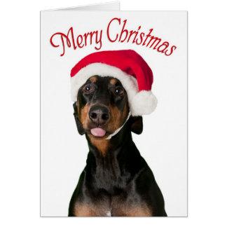 Cartes de Noël drôles de chien de dobermann
