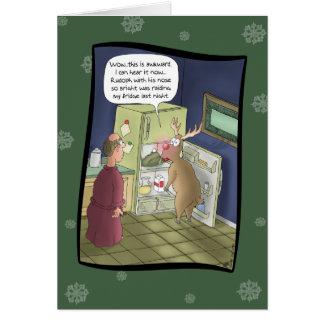Cartes de Noël drôles : Pillage du réfrigérateur