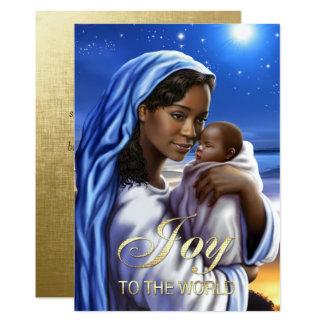 Cartes de Noël plates de Madonna d'Afro-américain