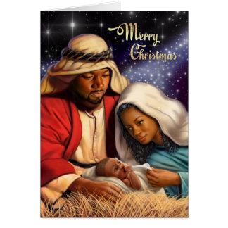 Cartes de Noël saintes de famille d'Afro-américain