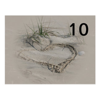 Cartes de nombre de Tableau de coeur de plage