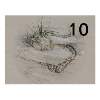 Cartes de nombre de Tableau de coeur de plage Carte Postale