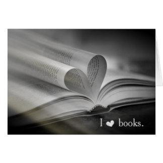 Cartes de note d'amour de livre