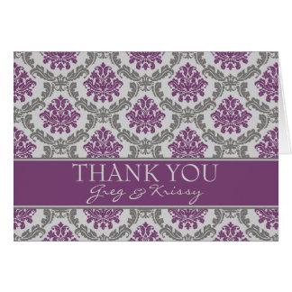 Cartes de note de Merci d'aubergine de prune de