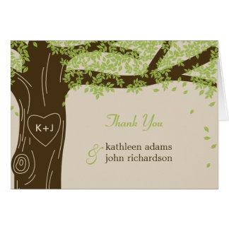 Cartes de note de Merci de mariage de chêne
