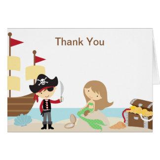 Cartes de note de Merci de pirate et de sirène
