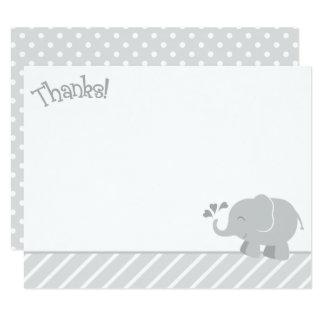 Cartes de note de Merci d'éléphant | gris et blanc
