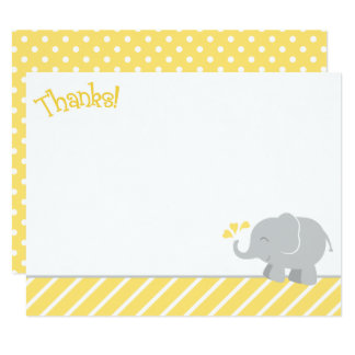 Cartes de note de Merci d'éléphant | jaune et gris