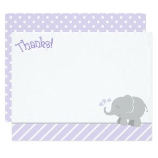 Cartes de note de Merci d'éléphant | pourpre et
