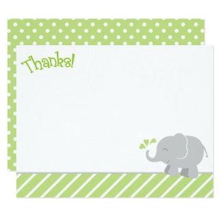 Cartes de note de Merci d'éléphant | vert et gris