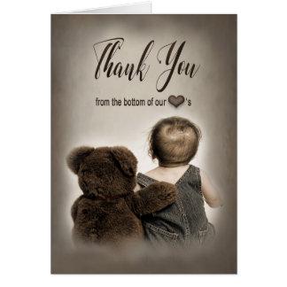 Cartes de note de MERCI d'ours et de bébé de