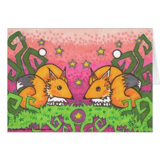 Cartes de note d'illustration de Fox de jumeau du