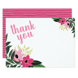 Cartes de note florales modernes roses de Merci