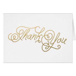 Cartes de note minimales de Merci de mariage d'or