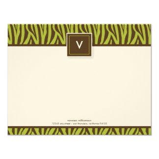 Cartes de note plates d'impression génial de zèbre carton d'invitation 10,79 cm x 13,97 cm