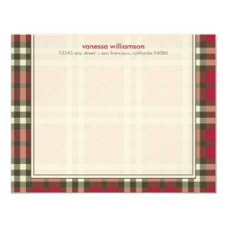 Cartes de note plates faites sur commande de plaid carton d'invitation 10,79 cm x 13,97 cm