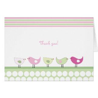 Cartes de note roses et vertes de Merci d'oiseaux
