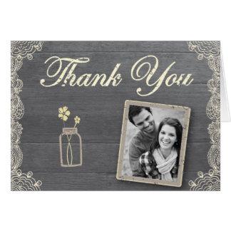 Cartes de note rustiques de Merci de pot de maçon