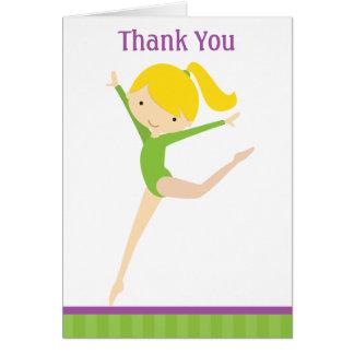 Cartes de note vertes de Merci de gymnaste